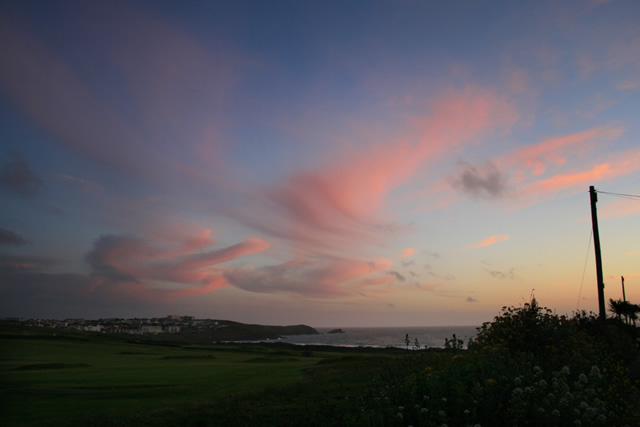 Sunset over Fistral beach, Newquay