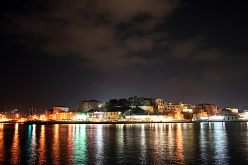 Night view of Chania harbour