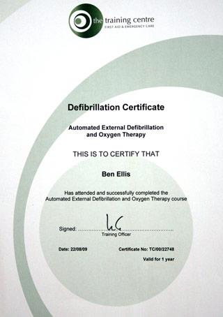 Defibrillation certificate