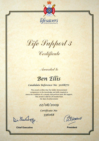 life support certificate