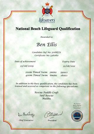 NBLQ certificate