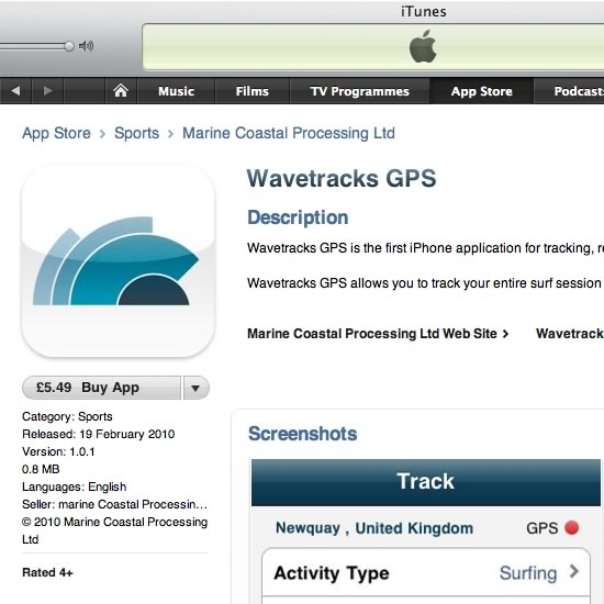 Wavetracks GPS available on the iPhone App Store