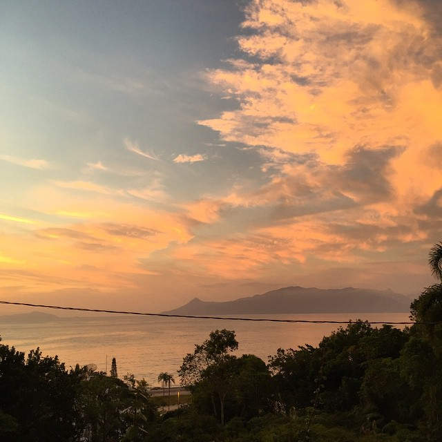 View of Ilhabela at sunrise from Massaguaçu.