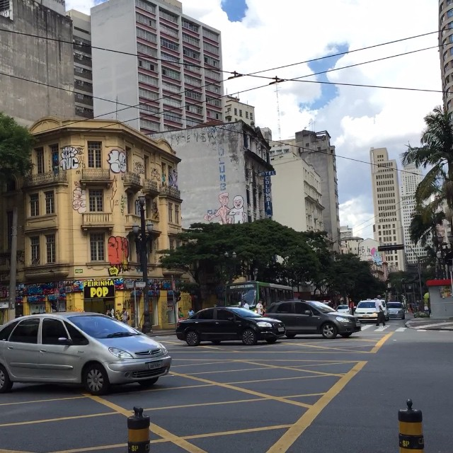 Crosstown traffic in the old centre of São Paulo.