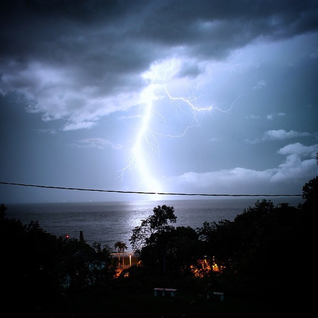 View of lightening strike from Mirante da Orla.