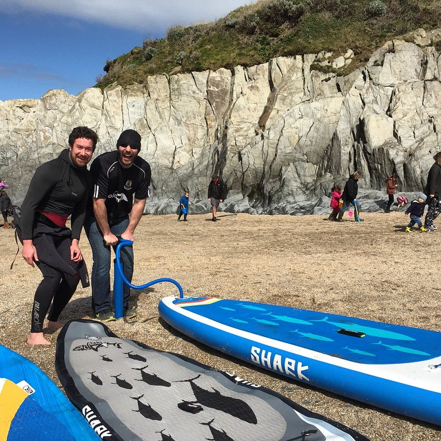 Inflatable SUP crew enjoying the bank holiday weather! #sup #standuppaddle #devon #woolacombe
