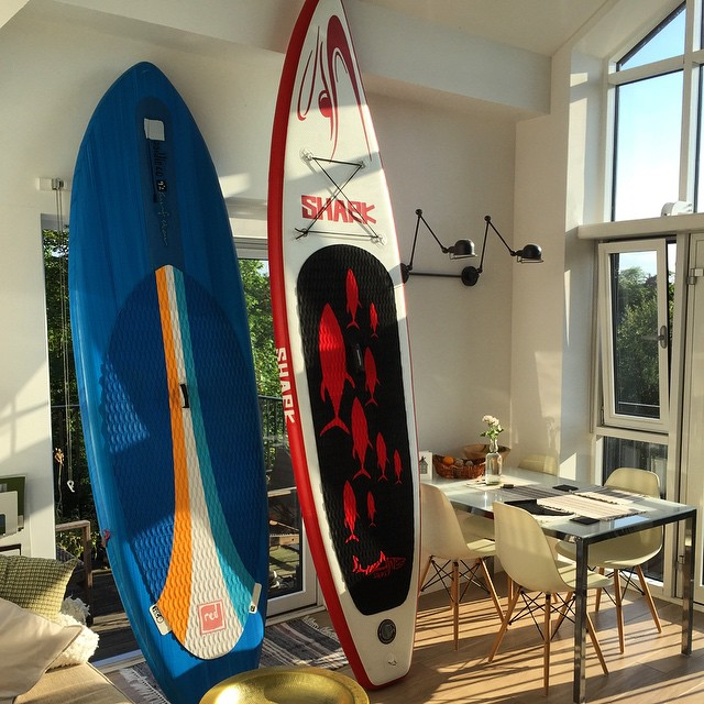 """Rose's present (the 10'6"""" on the right) makes the quiver 11 strong now! #sup #standuppaddle #sharksup thanks @paddlenationworldwide"""