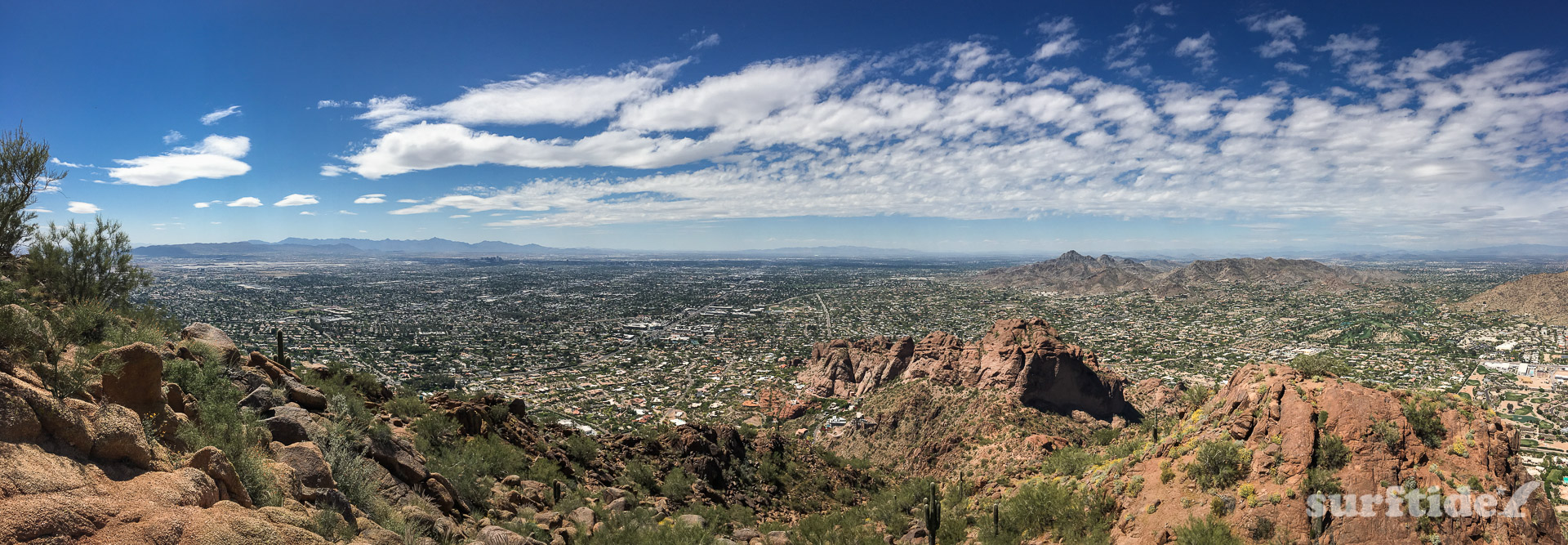 Panoramic photo the city of Phoenix from Camelback Mountain