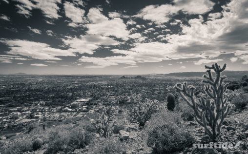 Black & white photo of the view from Camelback Mountain, Phoenix