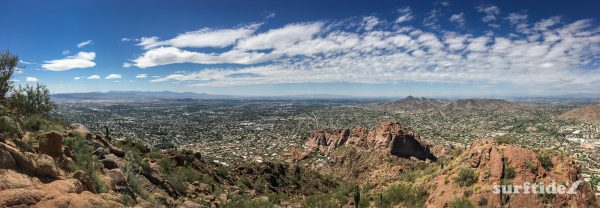 Panoramic view of the surrounding arid landscape from the top of Camelback Mountain, Arizona, USA