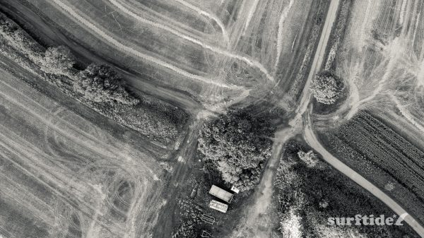 High definition, black and white aerial photo of Mallows Green Farm in Essex