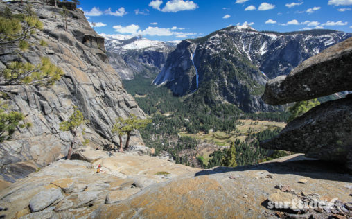 The view on a sunny day in spring across the valley from Yosemite Point in Yosemite National Park, USA