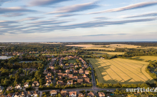 Aerial view of sunset over the farmers fields in Bishops Stortford, Hertfordshire