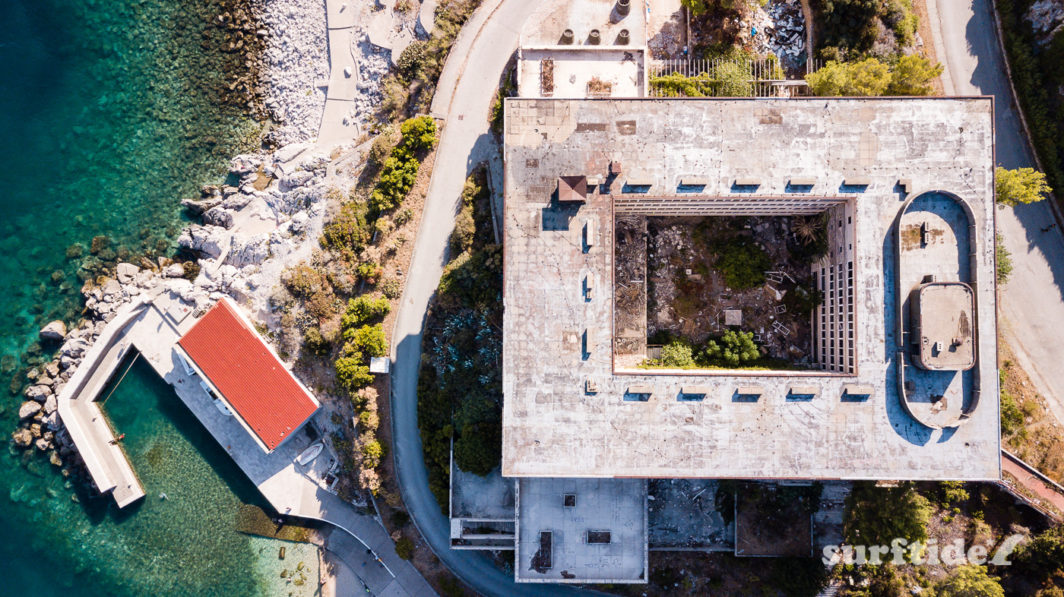 Aerial view of a bombed and abandoned hotel in the Kupari resort, southern Croatia