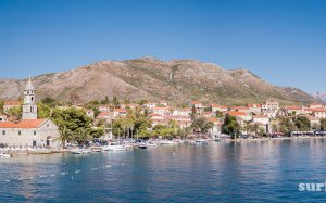 Panoramic photo of the boats in Cavtat Harbour
