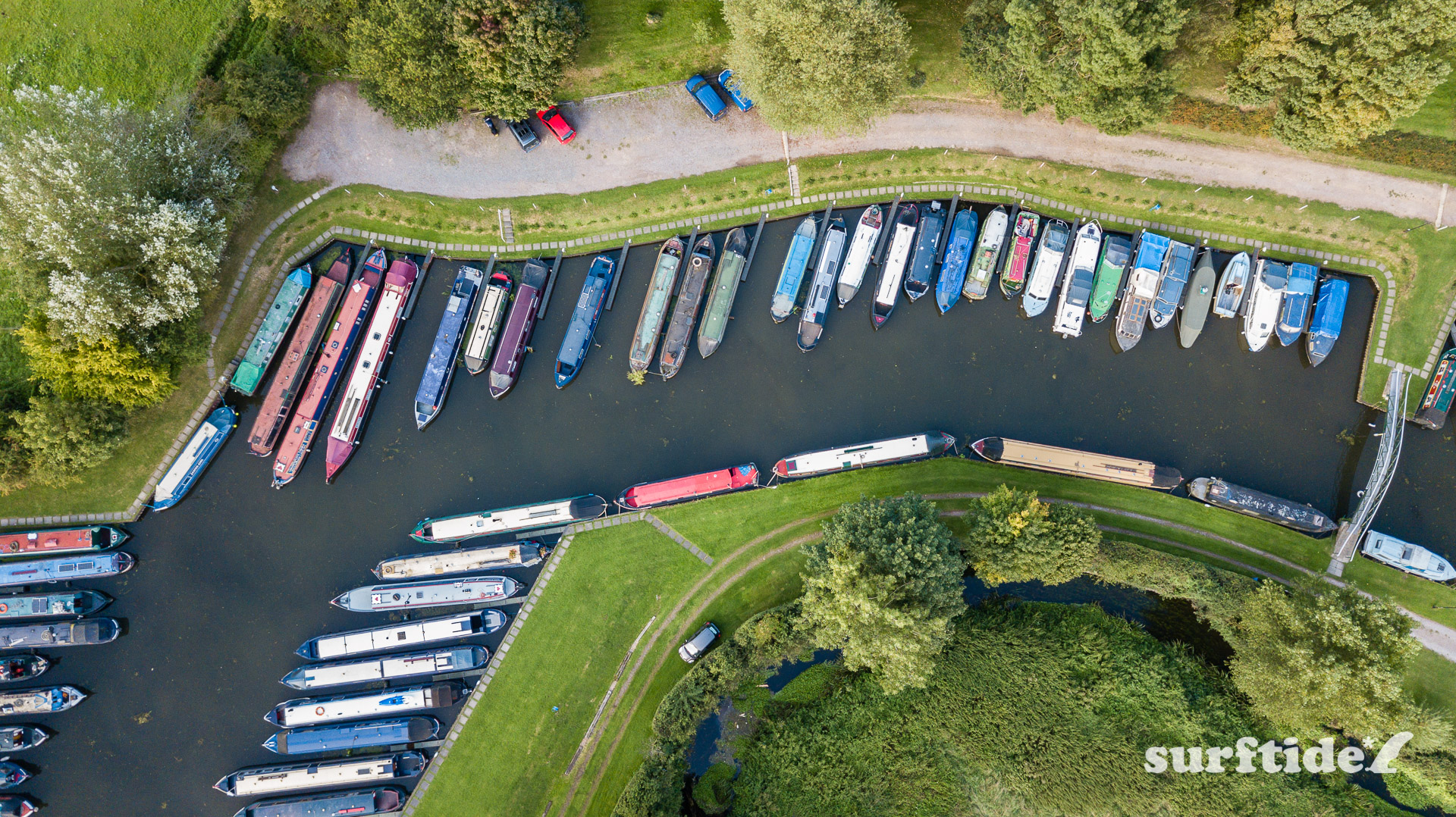 Aerial/drone photo of long boats at Hallingbury Marina