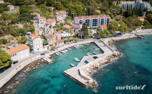 Aerial photo of the small harbour in the coastal town of Mlini in southern Croatia