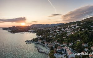 HDR photo of Croatian villages Mlini, Srebreno and Kupari at sunset