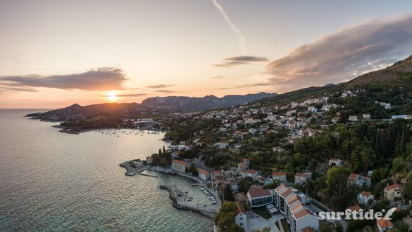 High dynamic range photo of Croatian villages of Mlini, Srebreno and Kupari at sunset