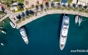 Aerial/drone photo of boats in Cavtat Harbour, Croatia