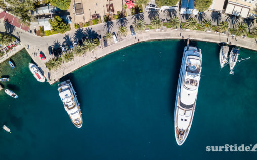 Aerial photo of the magnificent yachts in Cavtat harbour, southern Croatia