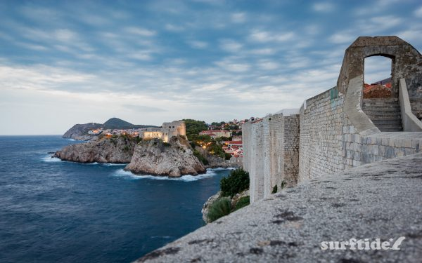 The view of Fort Lovrijenac from the historic walls in Dubronvik, southern Croatia