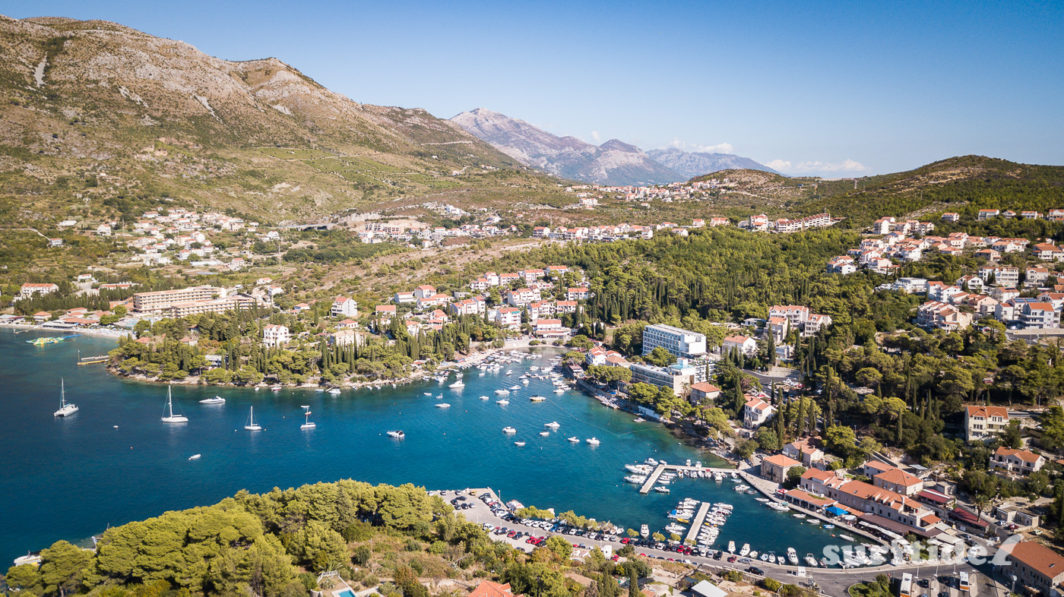 Aerial photo of the small coastal town of Cavtat and surrounding mountains in southern Croatia