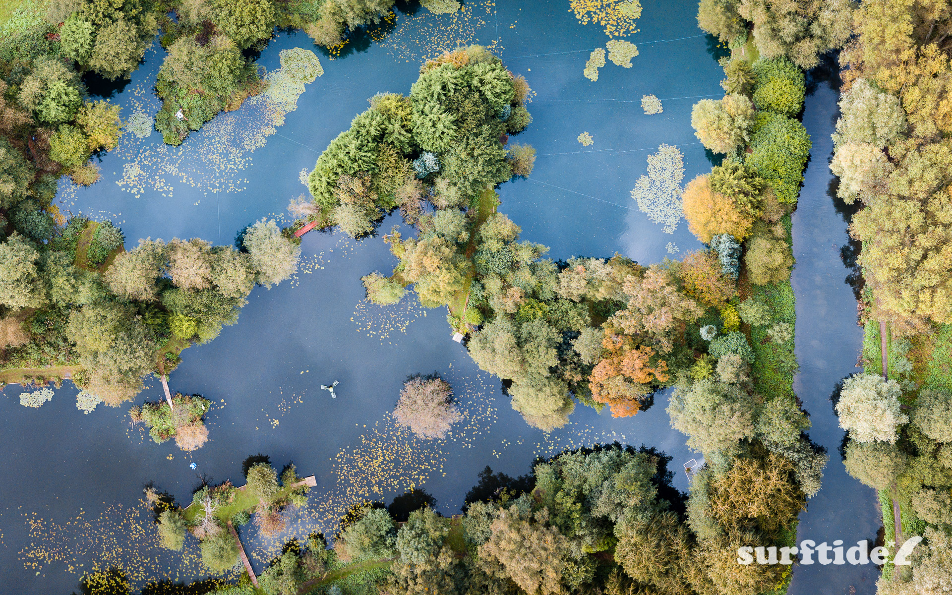 Aerial photo of the autumn colours over the River Stort