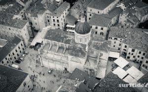 Black and white aerial photo of Dubrovnik Cathedral in Southern Croatia