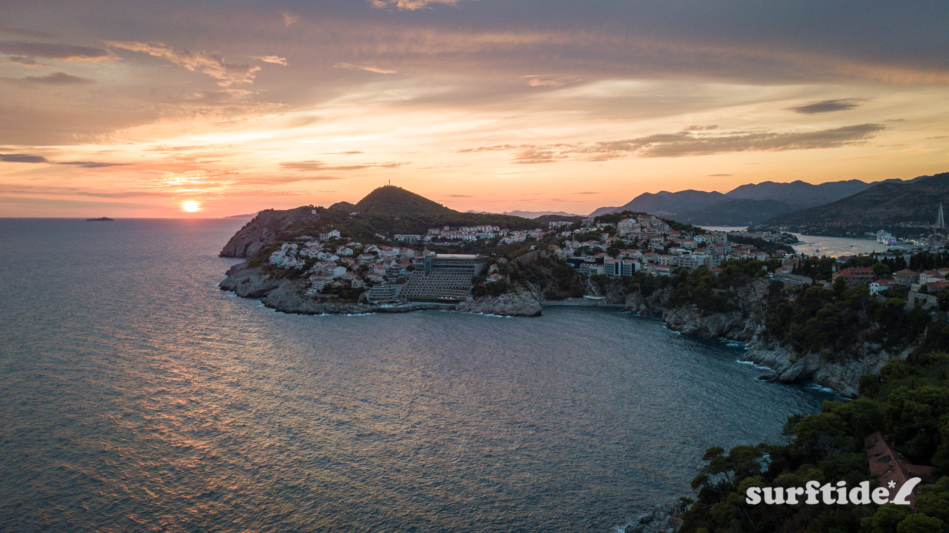Aerial photo showing sunset over the city of Dubrovnik