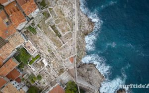 Aerial photo of the historic city walls in Dubrovnik southern Croatia