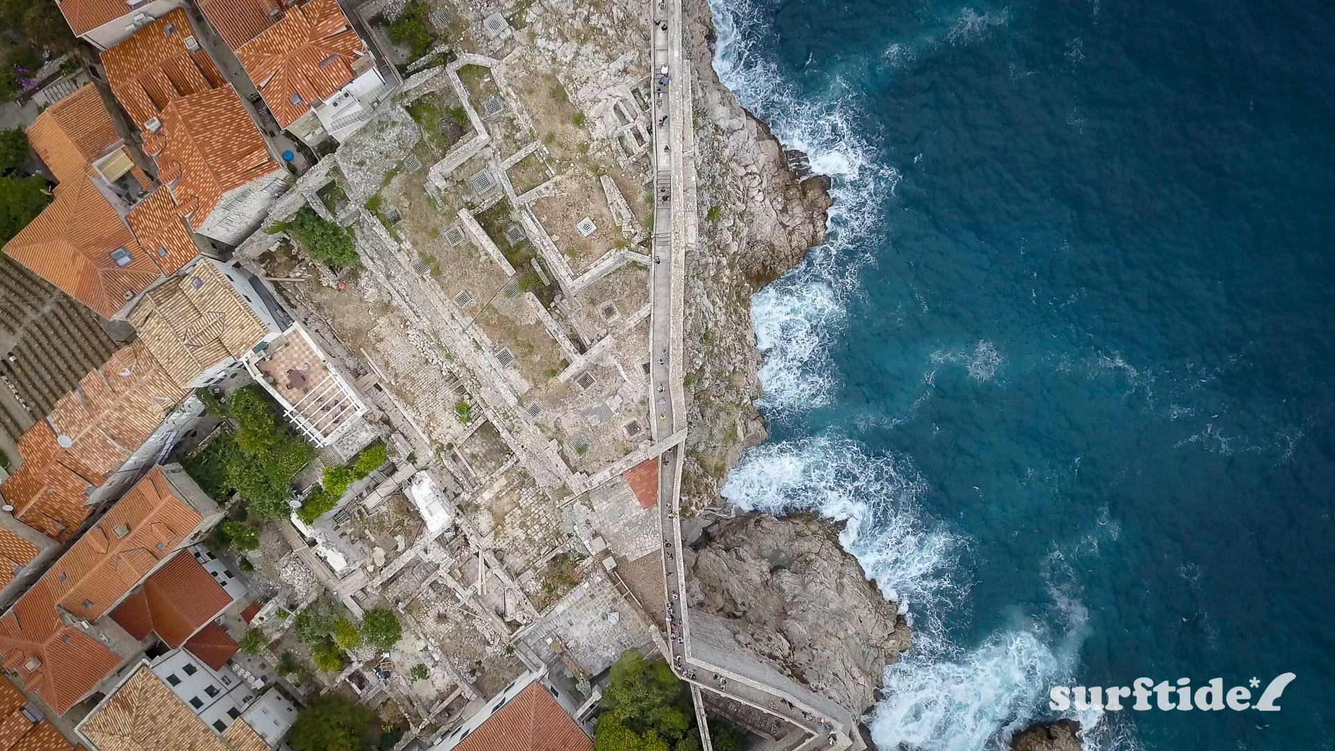 Aerial photo of Dubrovnik City Walls