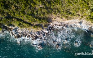 Aerial photo showing the sea, rocks and forest along the coastline of Soline in Southern Croatia