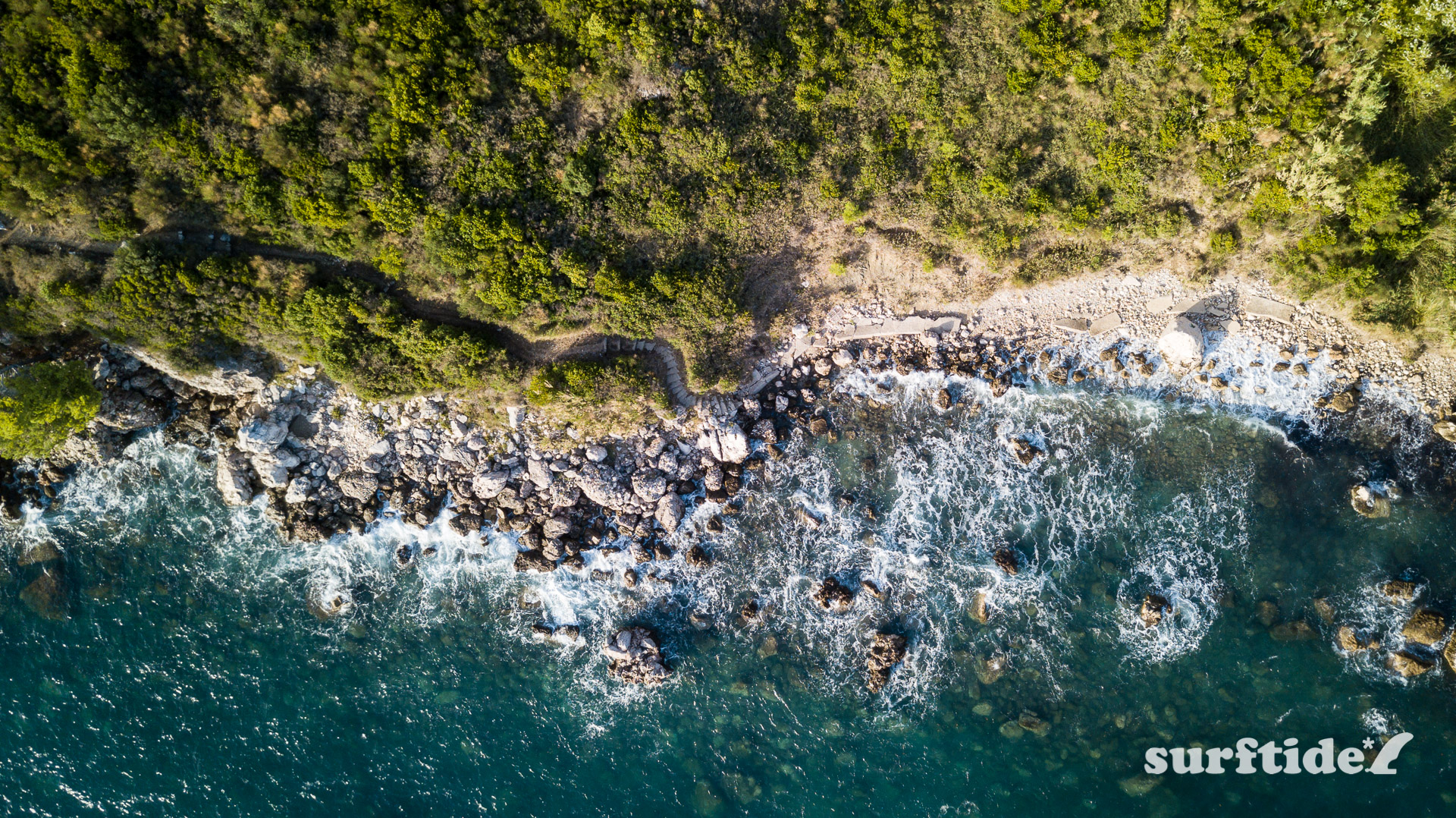Aerial photo showing rocky coastline of Soline.