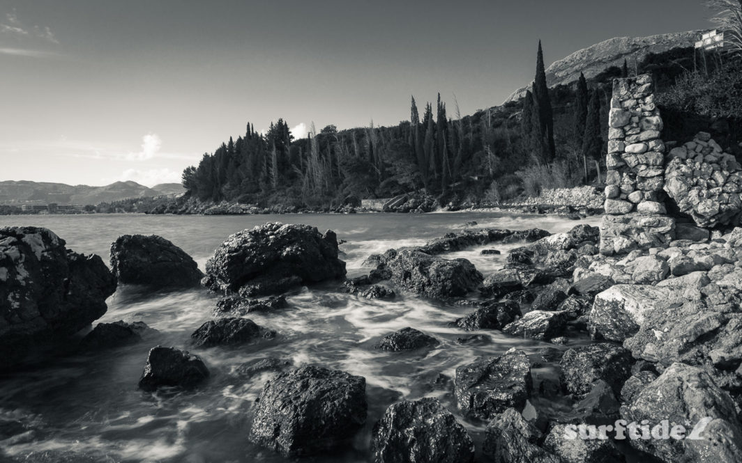 Black and white photo of the Soline coastline in southern Croatia