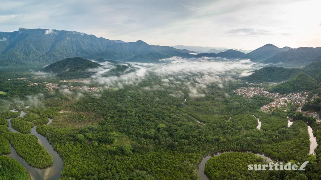 Aerial photo of Rio Escuro, Ubatuba, Brazil