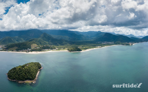 Aerial photo showing Ilha da Cocanha and the beaches of Cocanha, Mococa and Tabatinga in Brazil