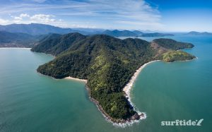 Panoramic photo of the tropical Brazilian coastline at Praia do Bonete, Ubatuba, Brazil