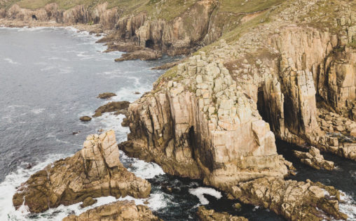 Aerial view of the headland at Land's End, Cornwall, England