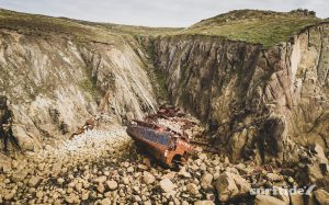 Aerial photo of the shipwrecked RMS Mulheim, Cornwall, England