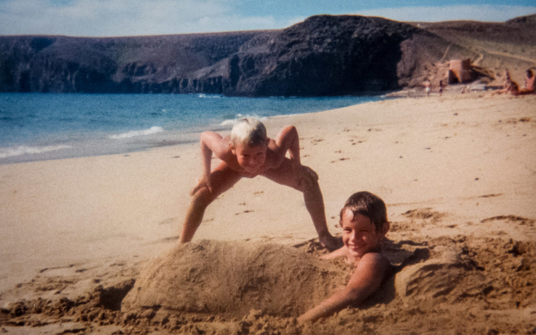 My brother Brad and I on a beach in Lanzarote, 1987