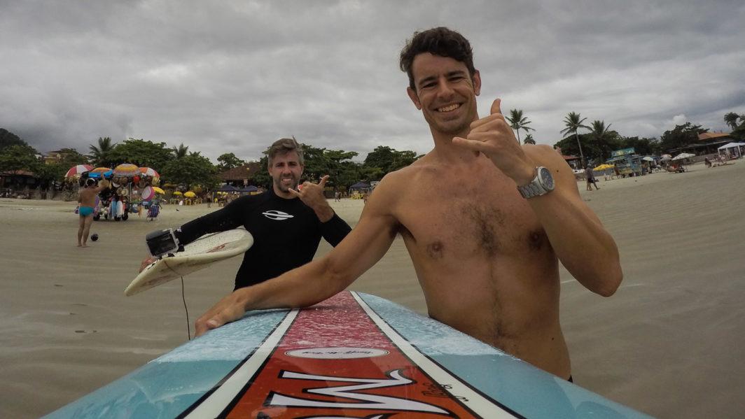 Ben Ellis & Thiago Paiva surfing at Praia Grande, Ubatuba, Brazil in 2016