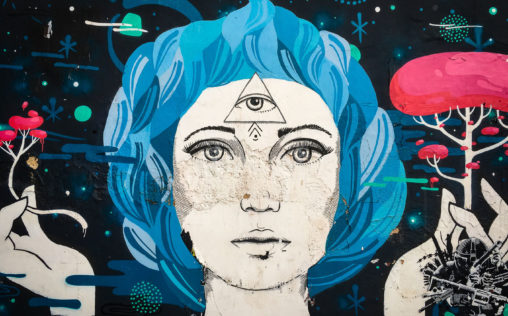 Abstract Brazilian street art from Rio de Janeiro showing a blue-haired lady holding red mushrooms