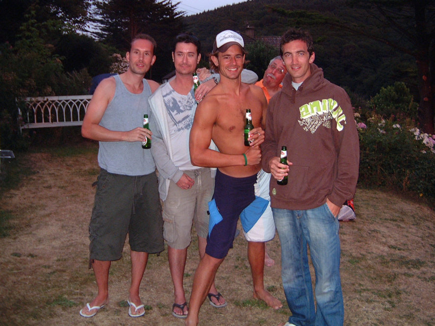 Richie, Luke, Ben and I (with Bill in the background) having a post-surf in Lee Bay, Devon in 2006