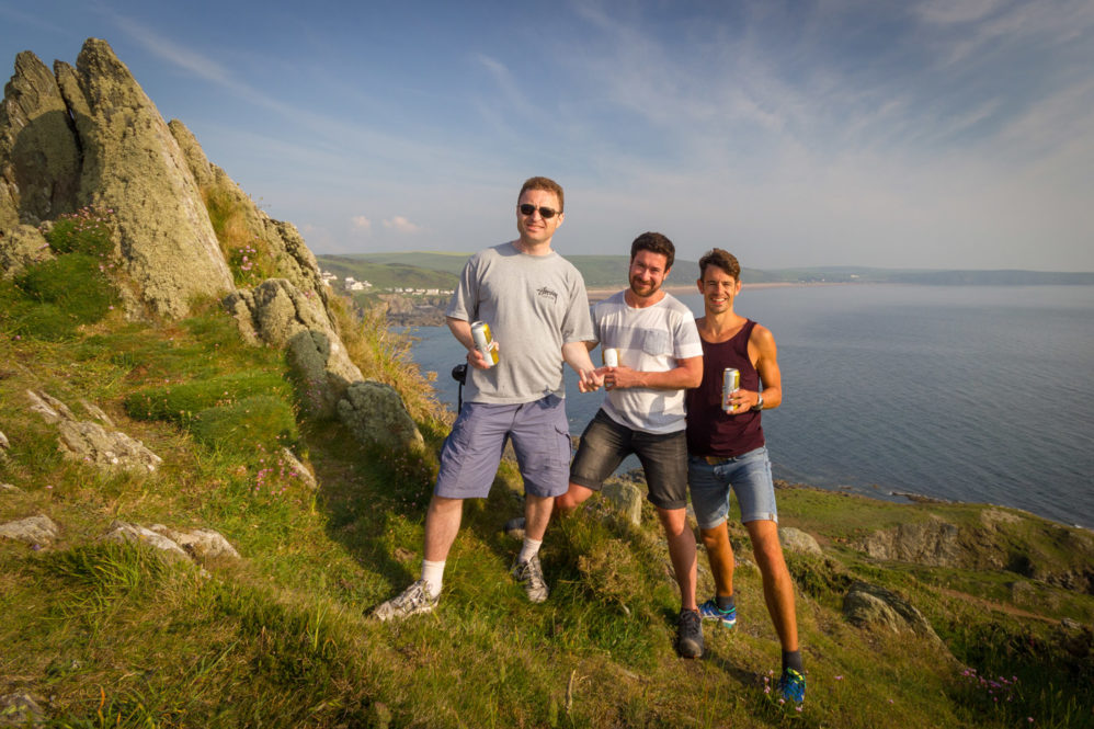 Lionel, Luke & Ben at Morte Point, Woolacombe in 2016