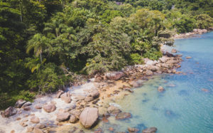 Aerial capture of the secluded Praia do Oeste