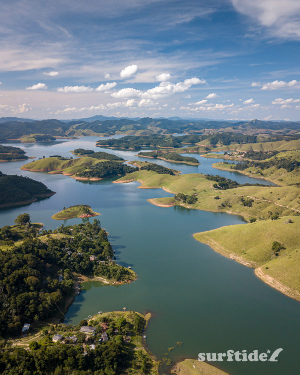 Aerial photo showing a breathtaking view of the Paraibuna Reservoir